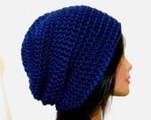 Navy Slouchy Beanie Crochet Dark Blue Hipster Mens Oversize Womens Slouch Beanie