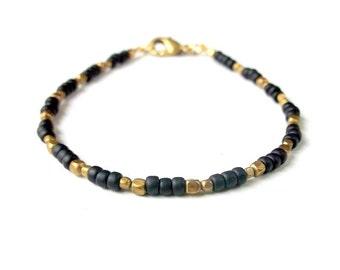 Boho Bracelet Dainty Seed Bead Bracelet - Jet Black - Boho Jewelry Bohemian Jewelry Ethnic Jewelry Tribal Jewelry Simple Stackable Bracelet