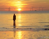 The Iron Man at Sunset, Crosby Beach, Liverpool, UK