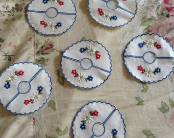 French Country Shabby Chic Set of Nine Hand Stitched Stemware Coasters Covers