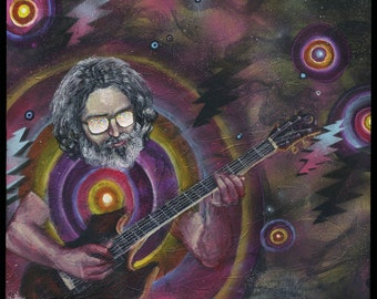 "Jerry Garcia Art Print- Grateful Dead Art - Music Artwork - Wall Art -  ""Live from Outer Space"" by Black Ink Art"