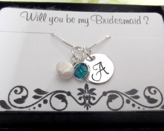 1 Bridesmaid Necklace With Card- Will You Be My Bridesmaid- Monogrammed Initial Necklace- Charm Necklace- Bridesmaid Necklaces