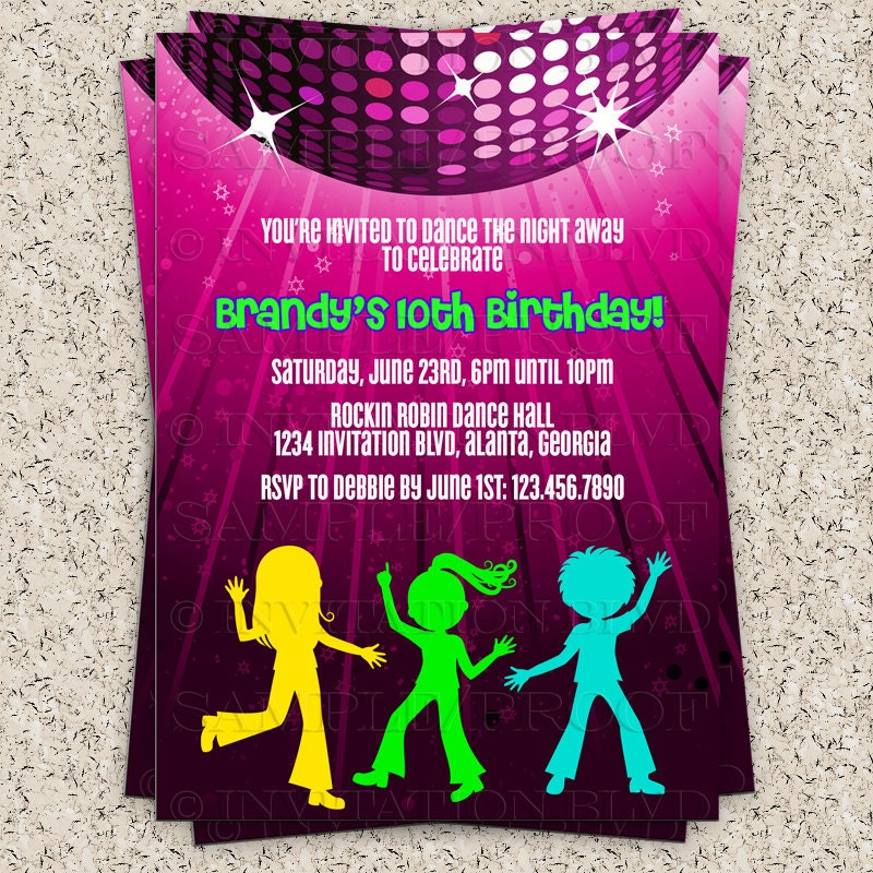 Dance party invitation hip hop dance party by invitationblvd for Old school party decorations
