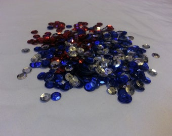 1000 Plus Red,Silver and Blue Sequin for DIY Crafts, making T-shirt pattern and Designs PATRIOTIC COLORS