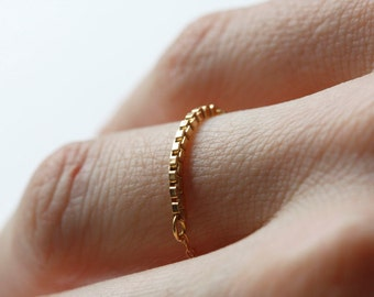 Minimalist Ring, Gold Box Chain Ring, Dainty Rings, Stacking Rings, Gold Stackable Rings