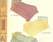 Vintage McCall's 8686 Basic Bed Covers Pattern - Bed Spreads - Dust Ruffle - Pillow Sham - Twin Size - Full Size - 1967