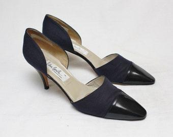 "80s Vintage ""ANA BONILLA"" Navy Blue Designer Leather Heels Sz: 9 (Women's Exclusive)"