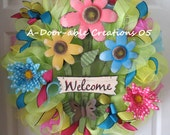 Welcome Deco Mesh Wreath - ADoorableCreations05