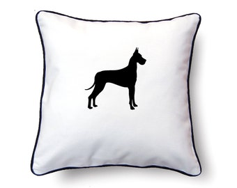 Great Dane Pillow 18x18 - Great Dane Silhouette Pillow - Personalized Name or Text Optional
