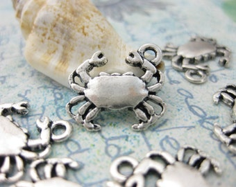 15 pcs Crab Charms Double Sided Antique Silver