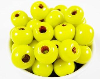 BULK - 30 Chunky Artisan Handmade Bright Neon Apple Yellow Glass Bead - 13mm - BE158