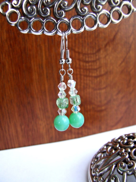 Green Opal Glass beaded dangle earrings