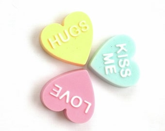 Three Conversation Heart Guest Soaps in Pear, Lemon Cake, and Red Apple fragrances by Lavish Handcrafted