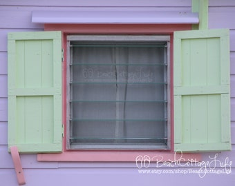 Hope Town Beach Cottage -Abaco, Bahama Out Islands - Coastal Pastel Painted Shutters Clapboard Shabby Chic Cottage Pink Purple Mint Green