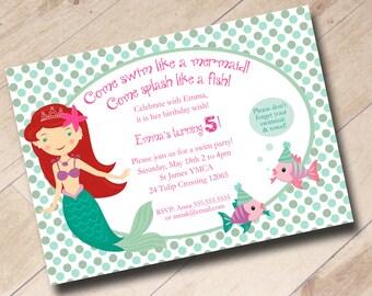 Little Mermaid Swim Party Birthday Invitation