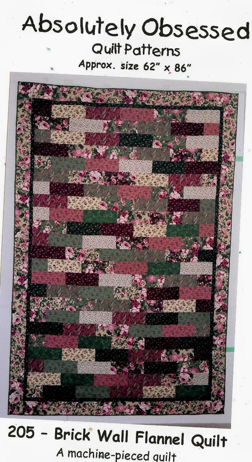 Quilt Patterns For Flannel : Brick Wall Flannel Quilt pattern ONLY