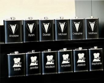 13 Personalized Groomsman Gifts Custom Engraved Leather Liquor Flasks - Monogrammed Groomsmen Gift