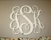 Unfinished Wooden 3-Letter Vine Personalized Custom Monogram Wall Art