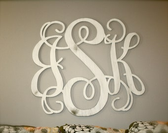 Attirant Unfinished Wooden 3 Letter Vine Personalized Custom Monogram Wall  Art