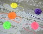Neon flower headband - 5 COLORS- pink/green/yellow/orange/purple -baby-girls-toddler
