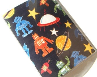 Passport Case Cover Holder -- Outer Space Robots