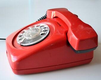Vintage red phone Iskra ETA 62 - Retro Yugoslavian Rotary Telephone