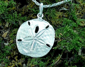 Sand Dollar Pendant Sterling Silver, Medium