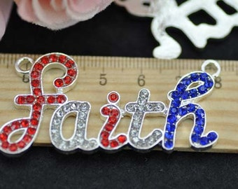 5pcs Silver Plated Colorful Rhinestone Faith Charms Connectors - 28x56mm Faith Charms Pendant