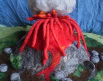 Large Volcano Playscape, hand felted merino wool with ash cloud, lava and rocks
