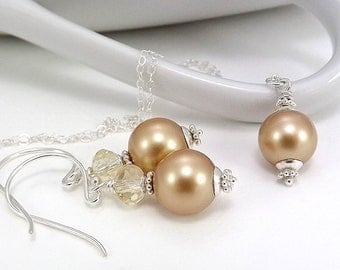 Sterling Silver Necklace and Earring Set - Vintage Gold Swarovski Glass Pearls
