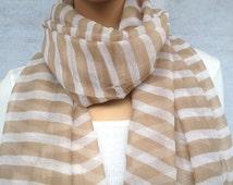 big  voile stripe scarf women spring scarf