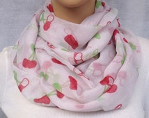 lovely white cherry voile infinity scarf women spring scarf