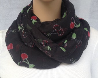 lovely black cherry voile infinity scarf women spring scarf
