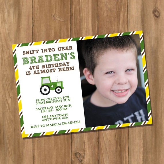 John Deere Inspired Tractor Birthday Party Invitation With