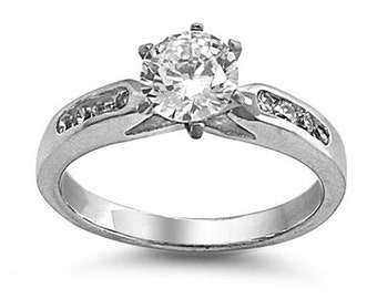 Personalized Stainless Steel with Cubic Zircona Ring - Free Engraving