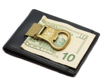 Personalized Genuine Leather Money clip / Card Holder / Bottle Opener