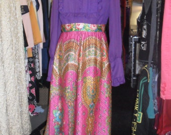 1970s maxi dress,hand made purple top and quilted bottom.