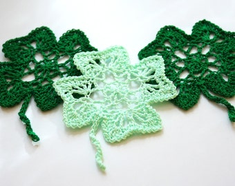 Crochet Four Leaf Clover for St Patricks Day Shamrock Ornament home decorating