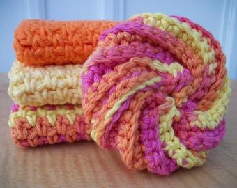 Set of Three Crocheted Dishclothes/ Washclothes & Dish Scrubbie