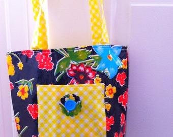 Oilcloth Purse Tote Bag - Black Print with Yellow and White Gingham