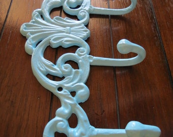 Wall Hook / Towel Hook / Coat Rack / Aqua Blue or Pick Color/ Cast Entrance Hanger / Bathroom Hook / Shabby Chic Home Decor / Key Hanger