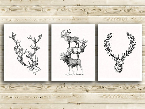 wall hanging deer head animal antlers hunting lodge wall decor stag