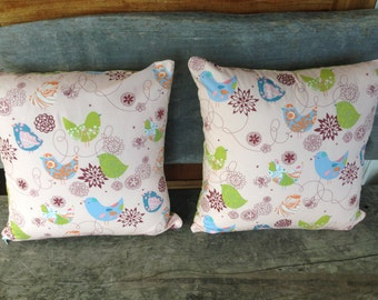 Pair of Cushion Covers/pillows in Starling Pink Birds and Ta Dot in Celery, fabric by Alexander Henry, Measuring 45cm or 18 inches.
