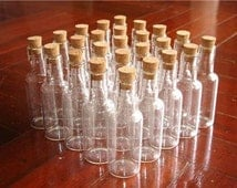 "Lot 25 16ml Clear Glass Mini Bottle Vial w/ Corks 2.75"" Tall"