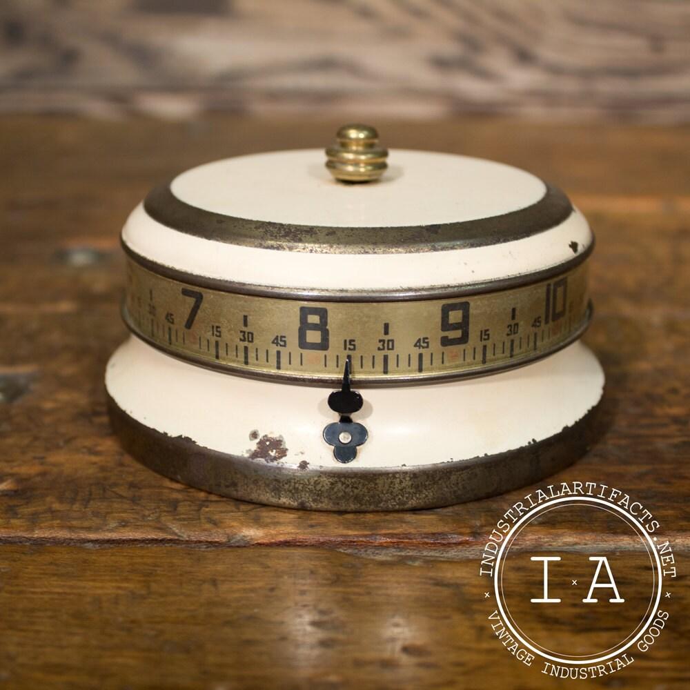 Vintage industrial art deco clock wind up cylinder desk - Deco vintage industriel ...