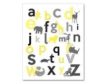 Alphabet Nursery Wall Art, Modern Jungle Alphabet, Safari Nursery,  Yellow Grey, Jungle Nursery Prints,