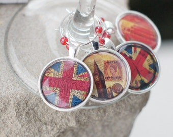The British are Coming Silver Wine Charms set of 4