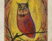 Halloween, Autumn Owl Original Painting on a Playing Card 2.5 x 3.5