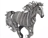 Black and White Zentangle Wild Horse drawing Print