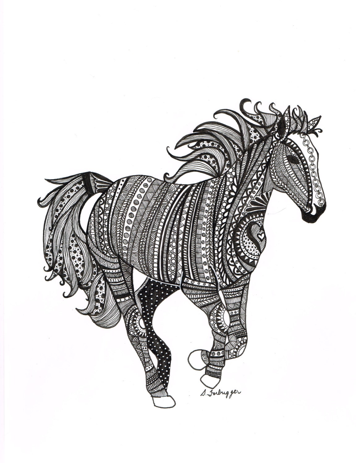 Black and white zentangle wild horse drawing by for Black and white horse coloring pages